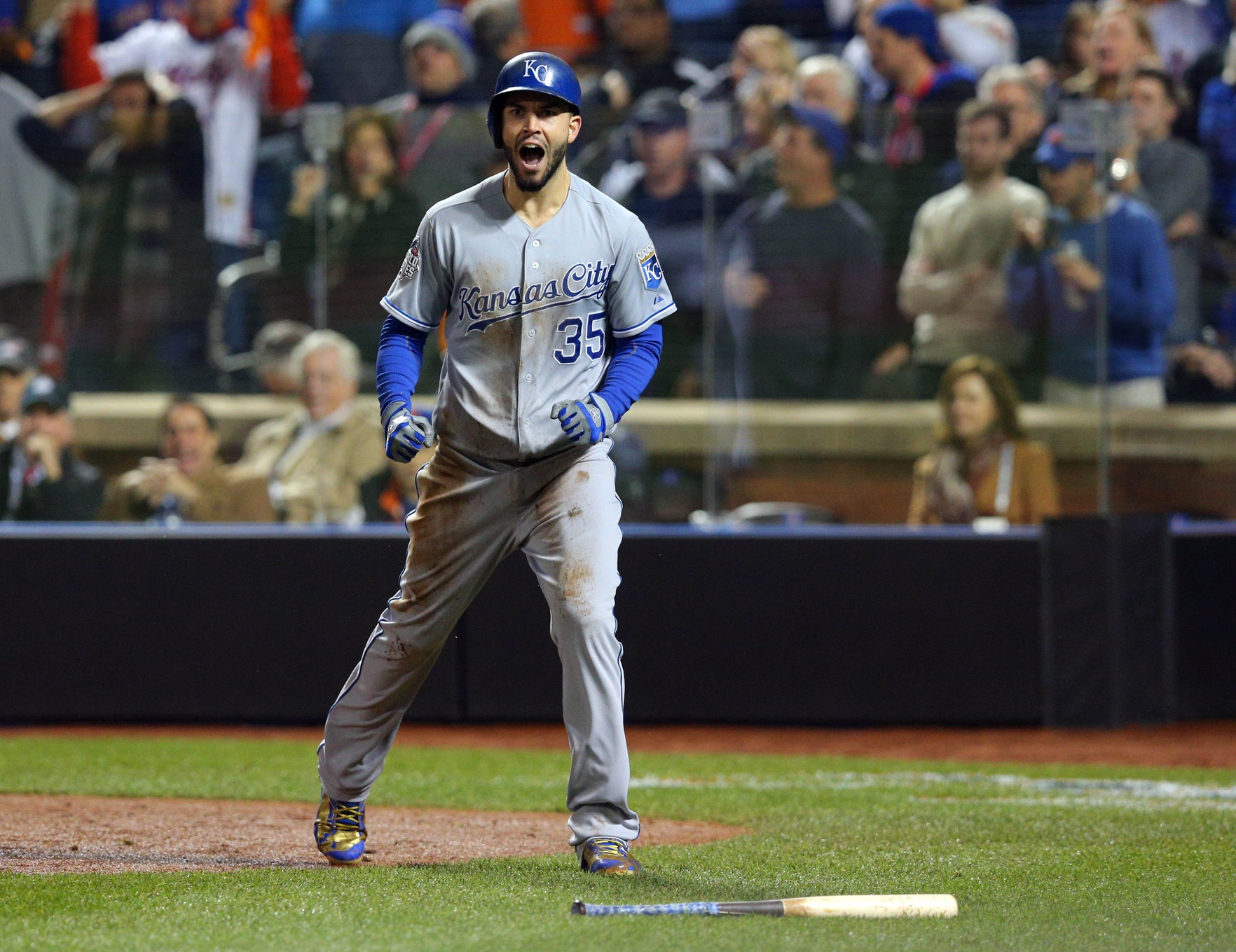 Nov 1, 2015; New York City, NY, USA; Kansas City Royals first baseman Eric Hosmer (35) reacts after scoring the tying run against the New York Mets in the 9th inning in game five of the World Series at Citi Field. Mandatory Credit: Brad Penner-USA TODAY Sports