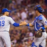Joakim Soria and Salvador Perez