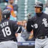 Apr 30, 2017; Detroit, MI, USA; Chicago White Sox catcher Geovany Soto (18) reacts to scoring a run with teammate first baseman Jose Abreu (79) in the fifth inning at Comerica Park. Mandatory Credit: Aaron Doster-USA TODAY Sports