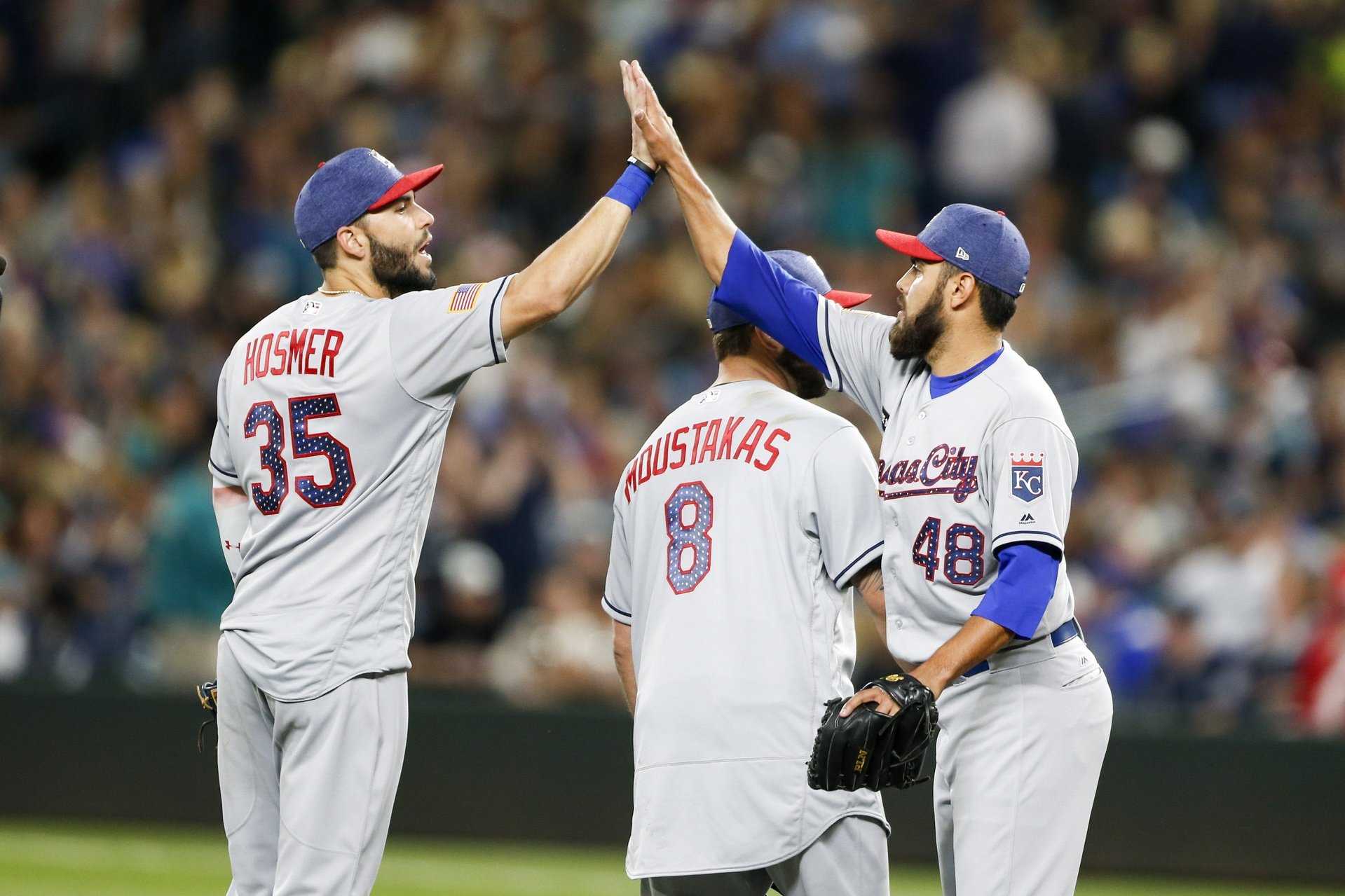 Jul 3, 2017; Seattle, WA, USA; Kansas City Royals relief pitcher Joakim Soria (48) exchanges a high five with first baseman Eric Hosmer (35) following the final out of a 3-1 victory against the Seattle Mariners at Safeco Field. Mandatory Credit: Joe Nicholson-USA TODAY Sports