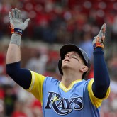 Aug 27, 2017; St. Louis, MO, USA; Tampa Bay Rays first baseman Logan Morrison (7) celebrates after hitting a solo home run off of St. Louis Cardinals relief pitcher Sam Tuivailala (not pictured) during the tenth inning at Busch Stadium. Mandatory Credit: Jeff Curry-USA TODAY Sports