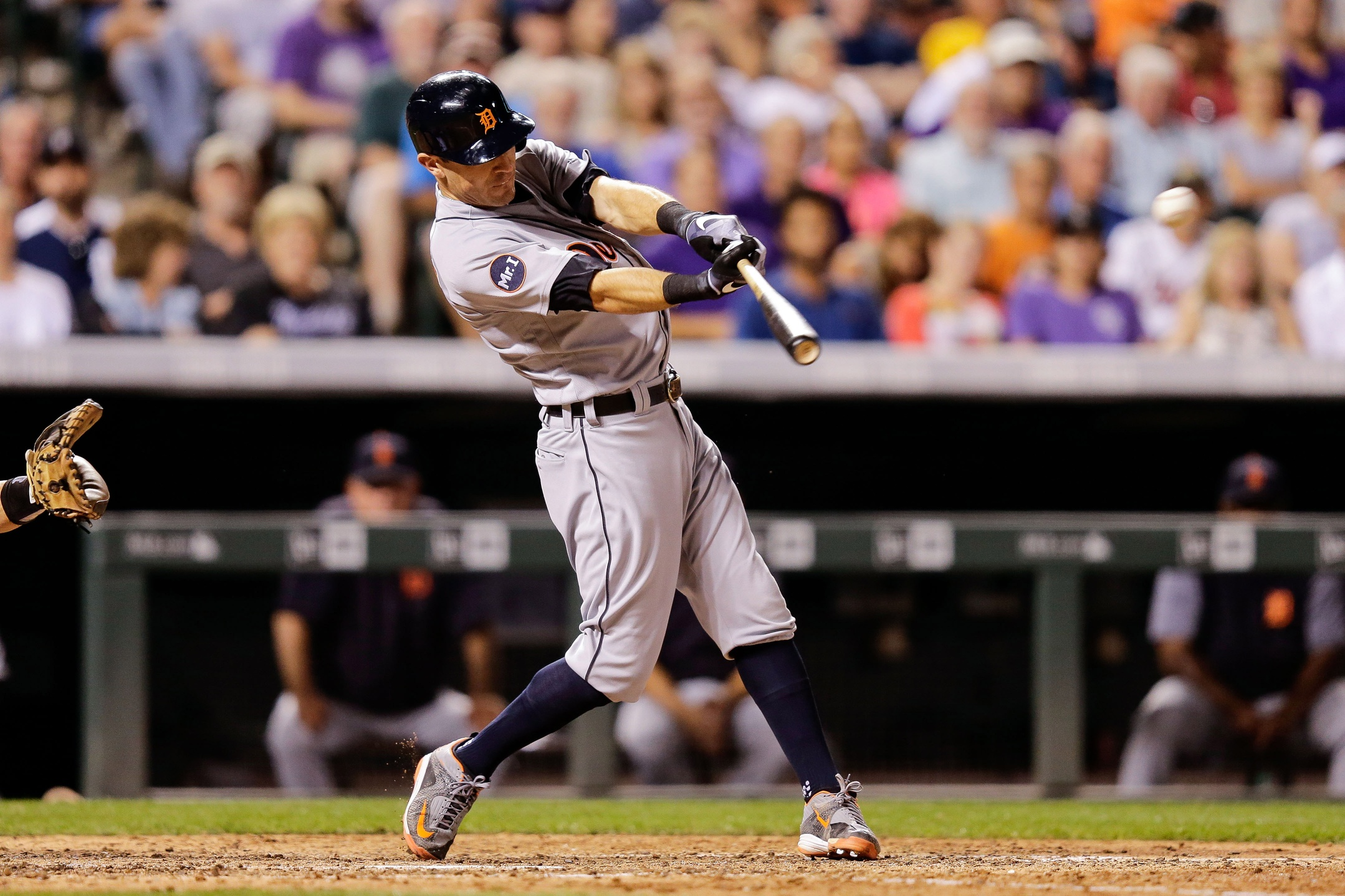 Aug 28, 2017; Denver, CO, USA; Detroit Tigers second baseman Ian Kinsler (3) hits a single in the seventh inning against the Colorado Rockies at Coors Field. Mandatory Credit: Isaiah J. Downing-USA TODAY Sports