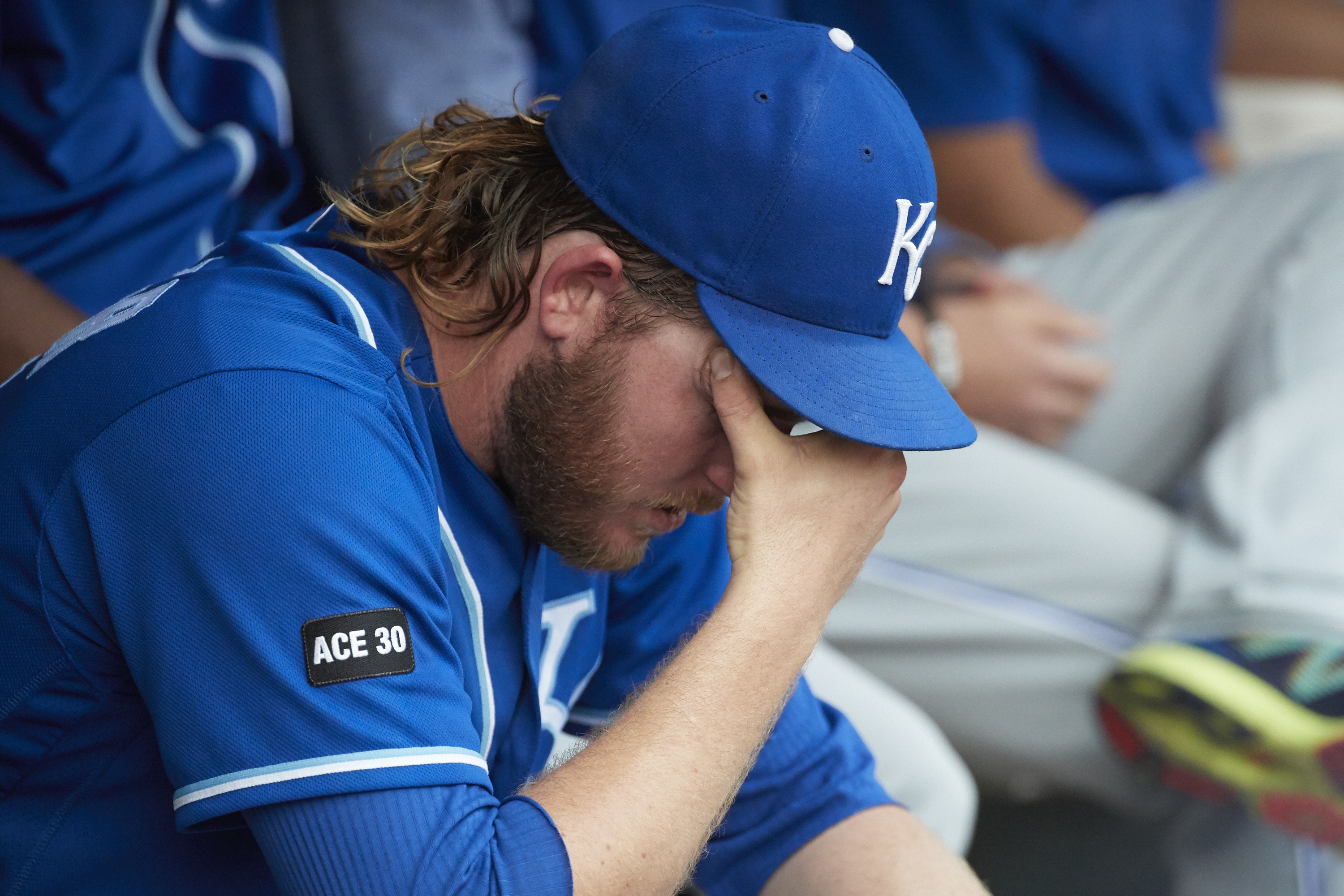 Sep 4, 2017; Detroit, MI, USA; Kansas City Royals relief pitcher Brandon Maurer (32) sits in dugout after being relieved in the ninth inning against the Detroit Tigers at Comerica Park. Mandatory Credit: Rick Osentoski-USA TODAY Sports
