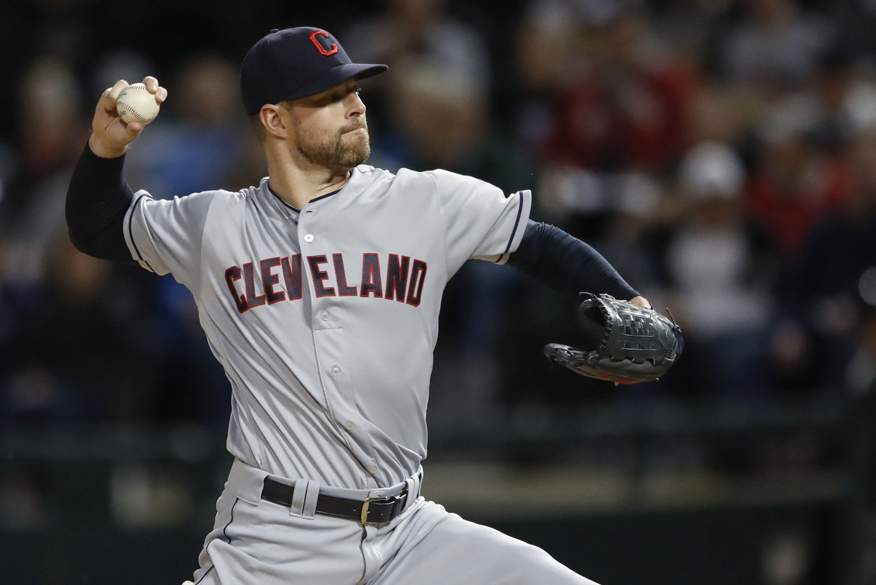 Sep 7, 2017; Chicago, IL, USA; Cleveland Indians starting pitcher Corey Kluber (28) delivers against the Chicago White Sox during the first inning at Guaranteed Rate Field. Mandatory Credit: Kamil Krzaczynski-USA TODAY Sports