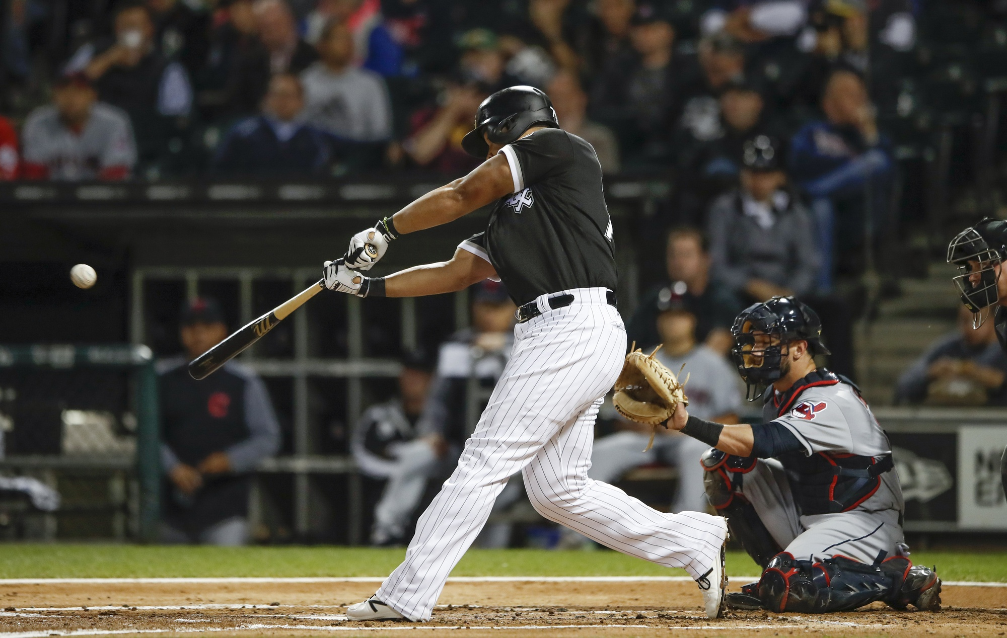 Sep 7, 2017; Chicago, IL, USA; Chicago White Sox first baseman Jose Abreu (79) hits a solo home run off Cleveland Indians starting pitcher Corey Kluber (not pictured) during the first inning at Guaranteed Rate Field. Mandatory Credit: Kamil Krzaczynski-USA TODAY Sports