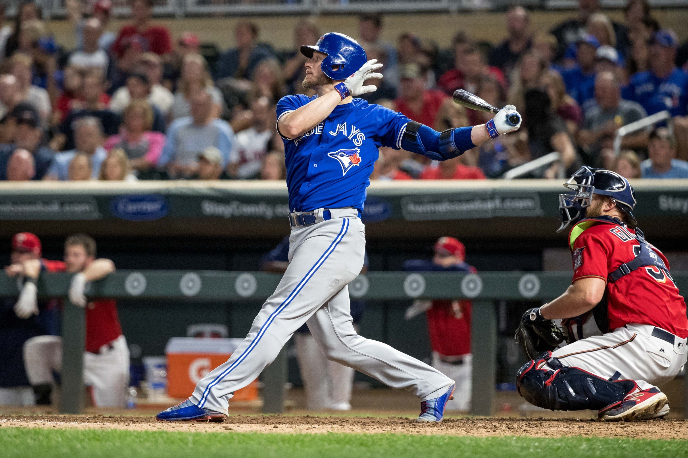 Sep 15, 2017; Minneapolis, MN, USA; Toronto Blue Jays third baseman Josh Donaldson (20) hits a double during the ninth inning against the Minnesota Twins at Target Field. Mandatory Credit: Jordan Johnson-USA TODAY Sports
