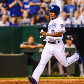 Sep 9, 2017; Kansas City, MO, USA; Kansas City Royals outfielder Terrance Gore (0) scores the go ahead run during the eighth inning against the Minnesota Twins at Kauffman Stadium. Mandatory Credit: Jeffrey Becker-USA TODAY Sports