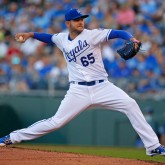 Jun 6, 2017; Kansas City, MO, USA; Kansas City Royals starting pitcher Jakob Junis (65) pitches against the Houston Astros in the second inning at Kauffman Stadium. The Royals won 9-7. Mandatory Credit: Jay Biggerstaff-USA TODAY Sports