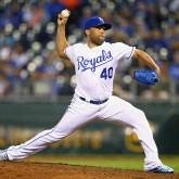 Sep 28, 2017; Kansas City, MO, USA; Kansas City Royals relief pitcher Kelvin Herrera (40) pitches against the Detroit Tigers in the ninth inning at Kauffman Stadium. Mandatory Credit: Jay Biggerstaff-USA TODAY Sports