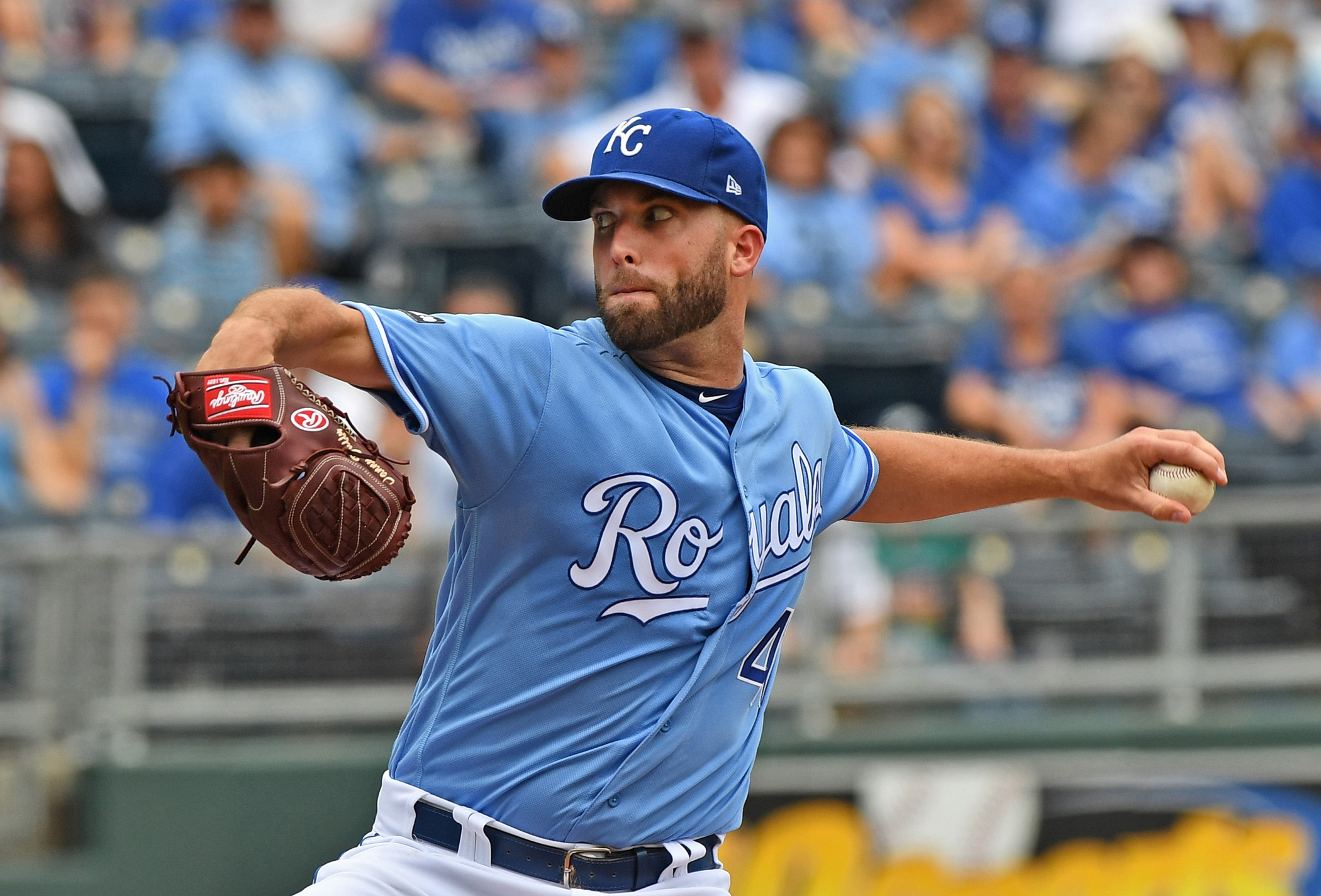 Aug 6, 2017; Kansas City, MO, USA; Kansas City Royals pitcher Danny Duffy (41) delivers a pitch against the Seattle Mariners during the first inning at Kauffman Stadium. Mandatory Credit: Peter G. Aiken-USA TODAY Sports