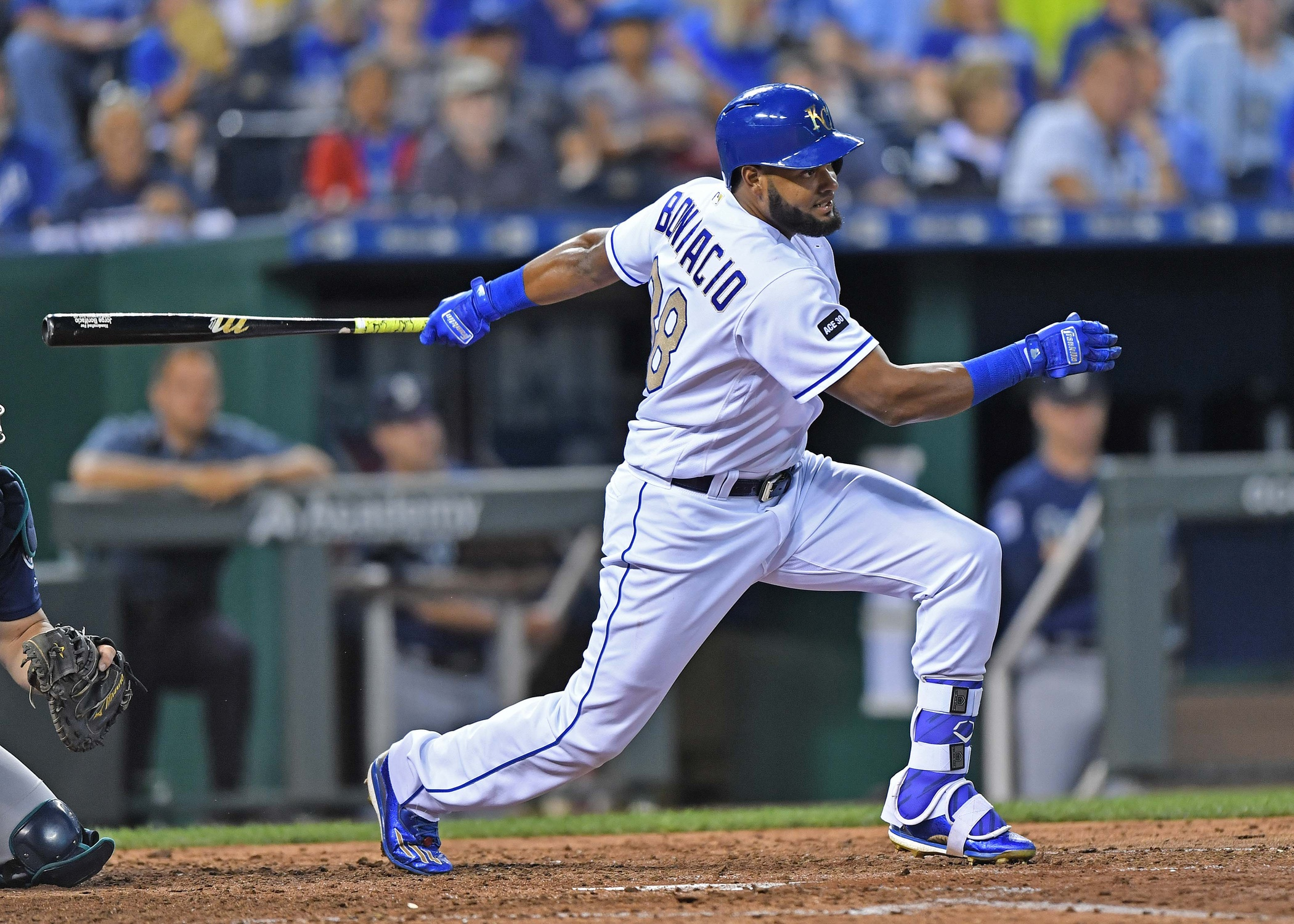 Aug 4, 2017; Kansas City, MO, USA; Kansas City Royals right fielder Jorge Bonifacio (38) at bat during a game against the Seattle Mariners at Kauffman Stadium. Mandatory Credit: Peter G. Aiken-USA TODAY Sports
