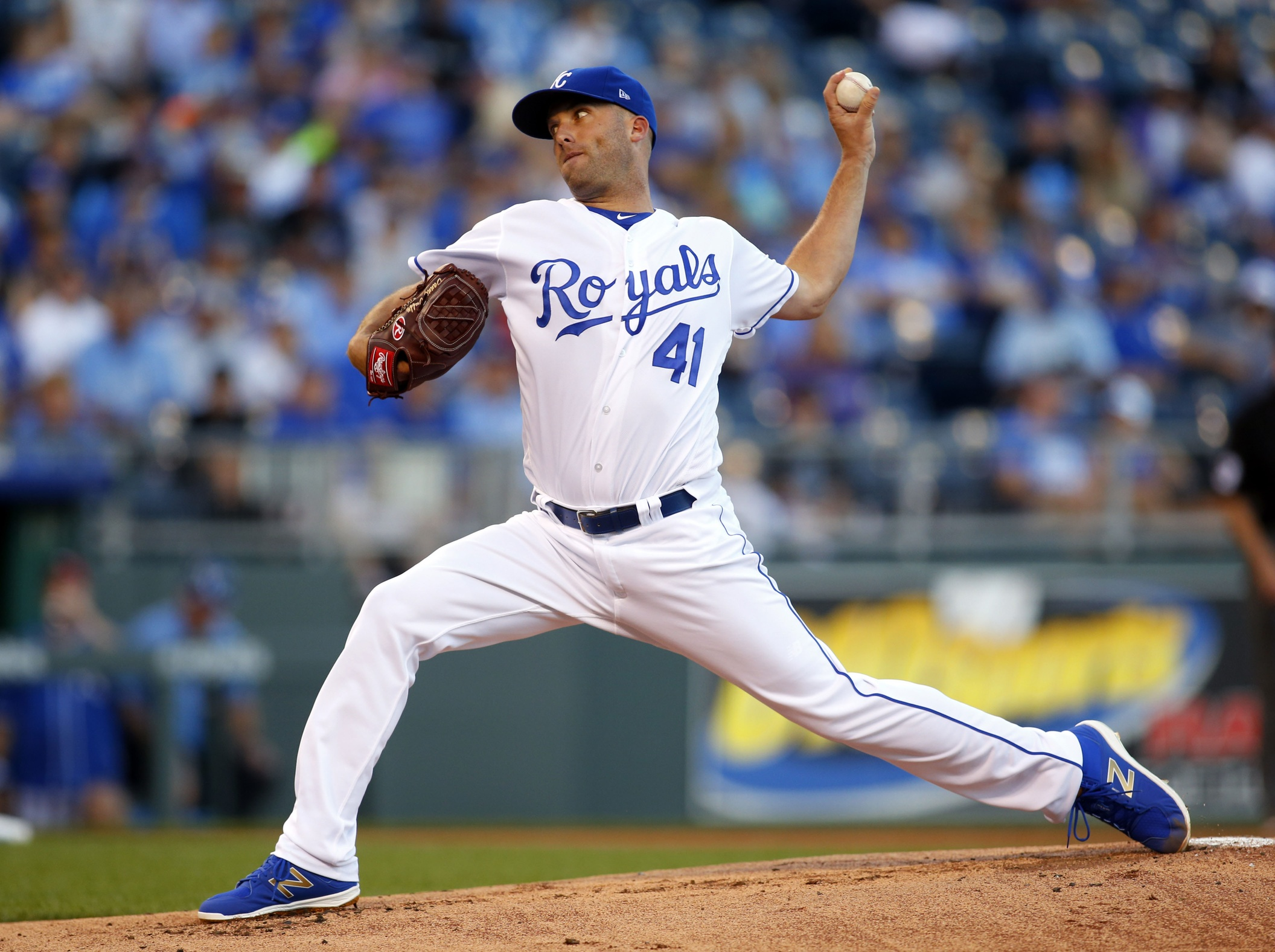 Aug 22, 2017; Kansas City, MO, USA; Kansas City Royals starting pitcher Danny Duffy (41) pitches against the Colorado Rockies in the first inning at Kauffman Stadium. Mandatory Credit: Jay Biggerstaff-USA TODAY Sports