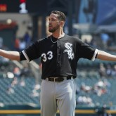 Sep 14, 2017; Detroit, MI, USA; Chicago White Sox starting pitcher James Shields (33) reacts to a play in the first inning against the Detroit Tigers at Comerica Park. Mandatory Credit: Rick Osentoski-USA TODAY Sports