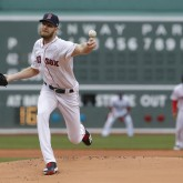Apr 15, 2018; Boston, MA, USA; Boston Red Sox starting pitcher Chris Sale throws the ball against the Baltimore Orioles in the first inning at Fenway Park. Mandatory Credit: David Butler II-USA TODAY Sports