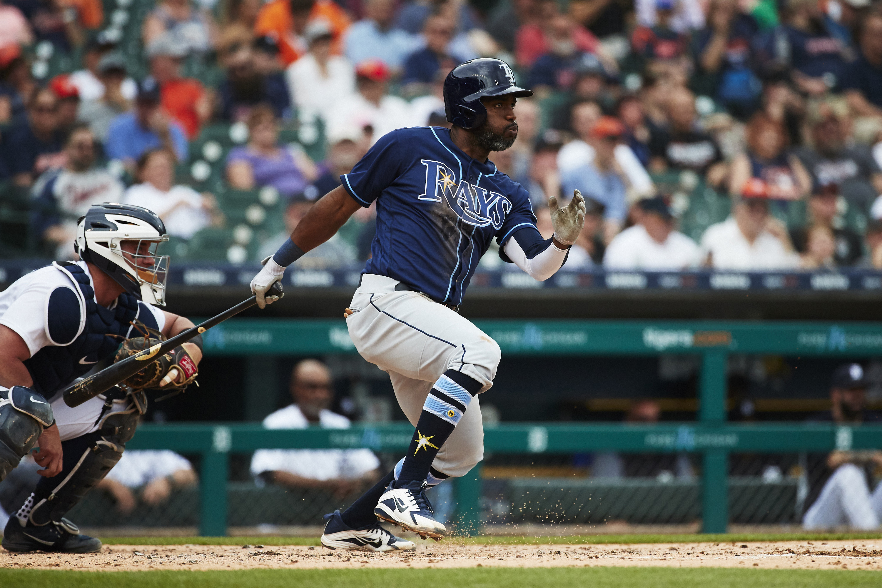 May 2, 2018; Detroit, MI, USA; Tampa Bay Rays left fielder Denard Span (2) drives in a run grounding out in the second inning against the Detroit Tigers at Comerica Park. Mandatory Credit: Rick Osentoski-USA TODAY Sports