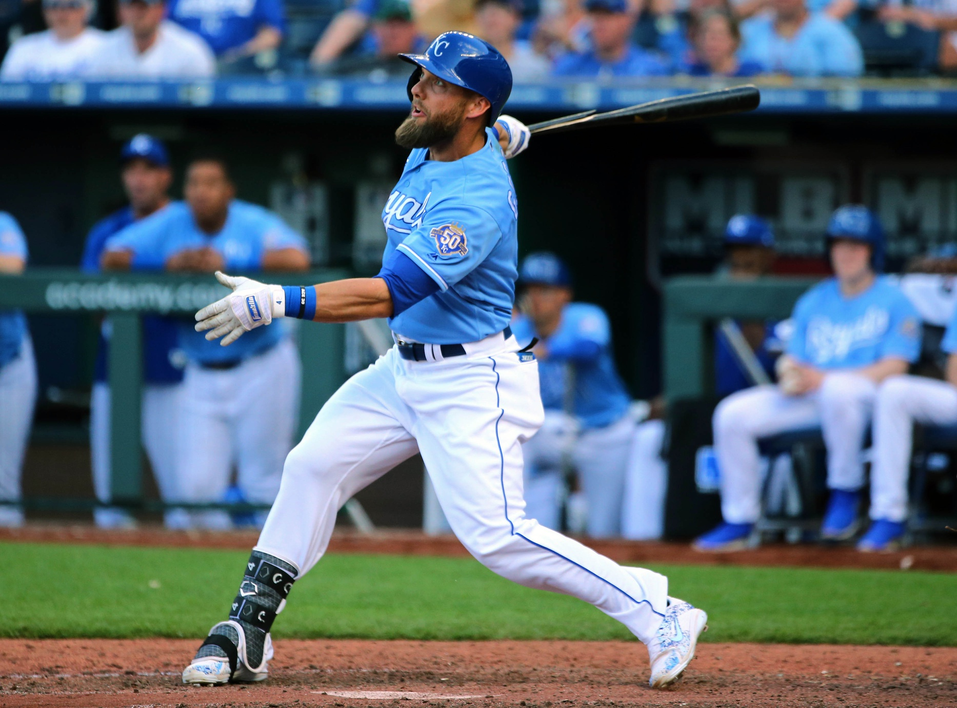 May 5, 2018; Kansas City, MO, USA; Kansas City Royals left fielder Alex Gordon (4) drives in a run on an error by Detroit Tigers center fielder Leonys Martin (not pitctured) in the ninth inning at Kauffman Stadium. Mandatory Credit: Jay Biggerstaff-USA TODAY Sports