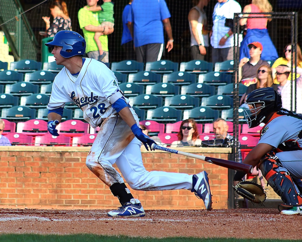 Brewer Hicklen, CF, Lexington Legends, Beats Out a High Bouncing IF Single-new edit