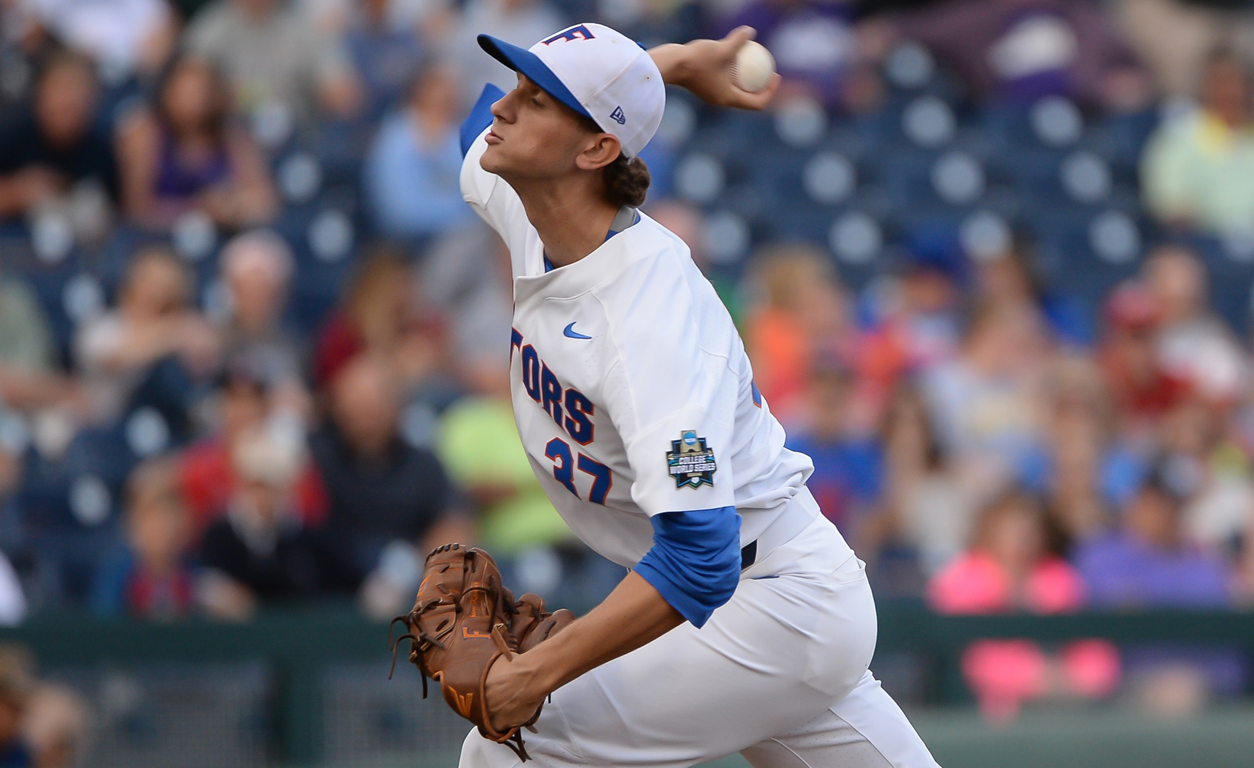 Jun 23, 2017; Omaha, NE, USA; Florida Gators pitcher Jackson Kowar (37) pitches in the first inning against the TCU Horned Frogs at TD Ameritrade Park Omaha. Mandatory Credit: Steven Branscombe-USA TODAY Sports