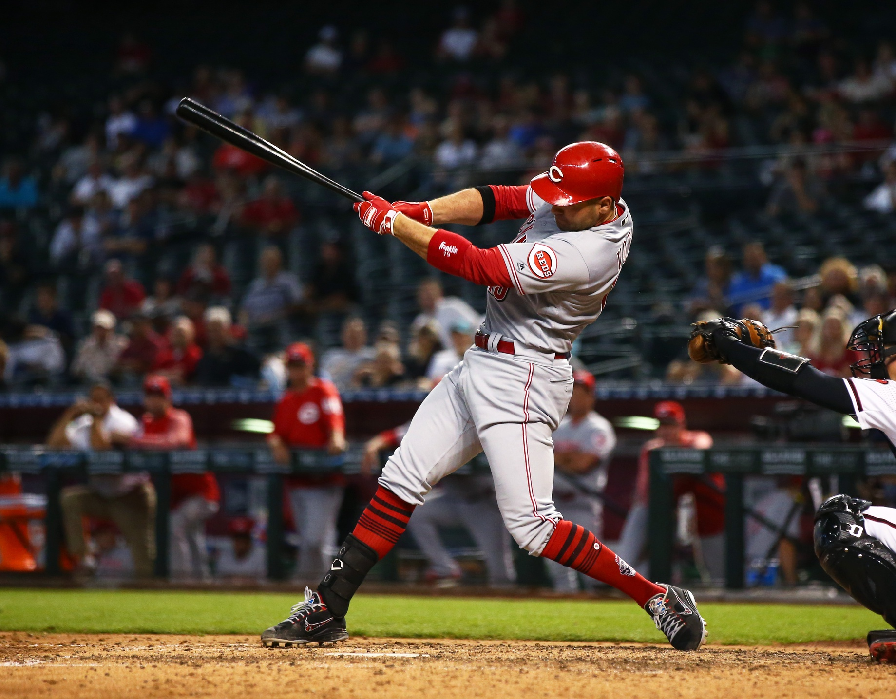 May 30, 2018; Phoenix, AZ, USA; Cincinnati Reds first baseman Joey Votto against the Arizona Diamondbacks at Chase Field. Mandatory Credit: Mark J. Rebilas-USA TODAY Sports