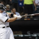 Jun 15, 2018; Chicago, IL, USA; Chicago White Sox designated hitter Matt Davidson (24) hits a single against the Detroit Tigers as he breaks hit bat during the fourth inning at Guaranteed Rate Field. Mandatory Credit: Kamil Krzaczynski-USA TODAY Sports