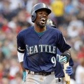 Jun 22, 2018; Boston, MA, USA; Seattle Mariners second baseman Dee Gordon (9) smiles after scoring a run against the Boston Red Sox during the second inning at Fenway Park. Mandatory Credit: Winslow Townson-USA TODAY Sports