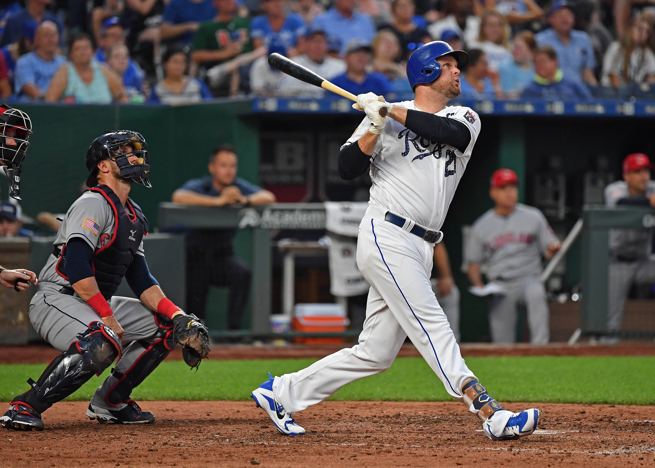 Jul 3, 2018; Kansas City, MO, USA; Kansas City Royals designated hitter Lucas Duda (21) doubles during the fifth inning against the Cleveland Indians at Kauffman Stadium. Mandatory Credit: Peter G. Aiken/USA TODAY Sports