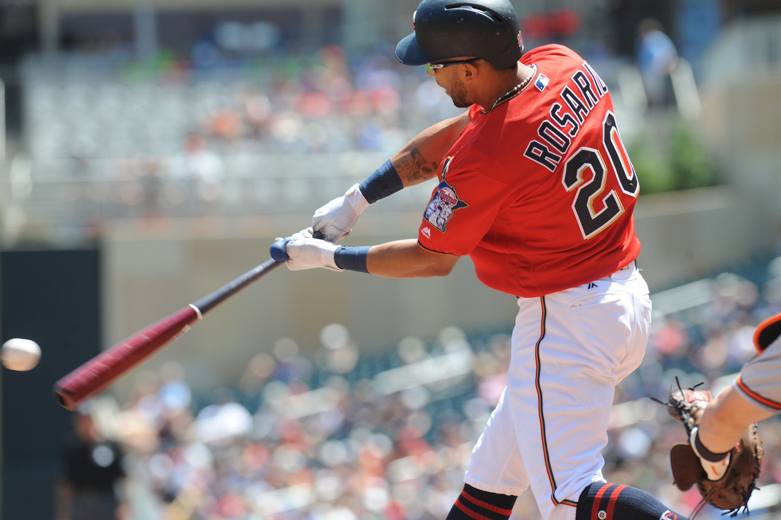 Jul 8, 2018; Minneapolis, MN, USA; Minnesota Twins left fielder Eddie Rosario (20) at bat during the first inning against the Baltimore Orioles at Target Field. Mandatory Credit: Marilyn Indahl-USA TODAY Sports