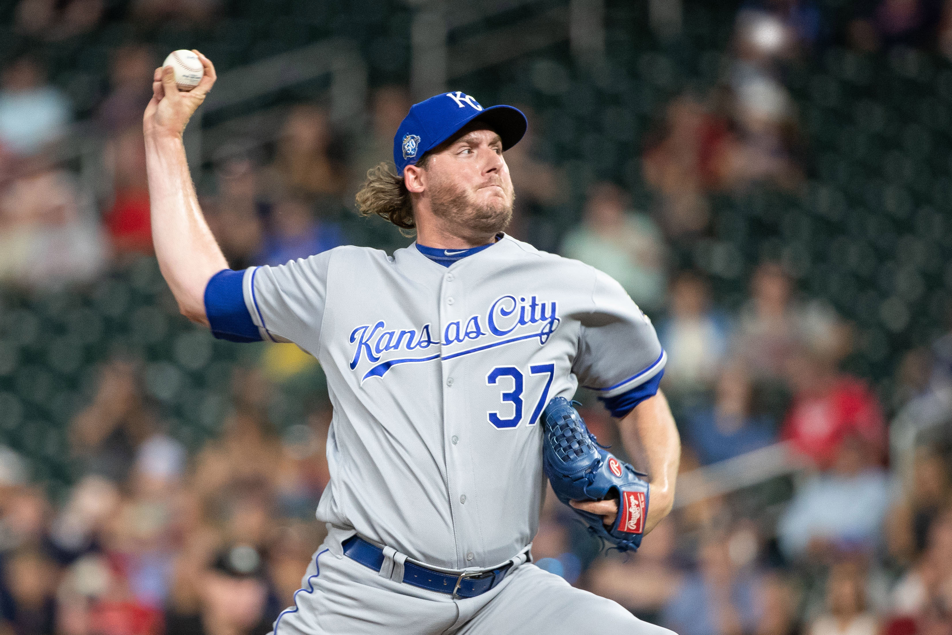 Jul 9, 2018; Minneapolis, MN, USA; Kansas City Royals relief pitcher Brandon Maurer (37) delivers a pitch during the eighth inning against the Minnesota Twins at Target Field. Mandatory Credit: Jordan Johnson-USA TODAY Sports