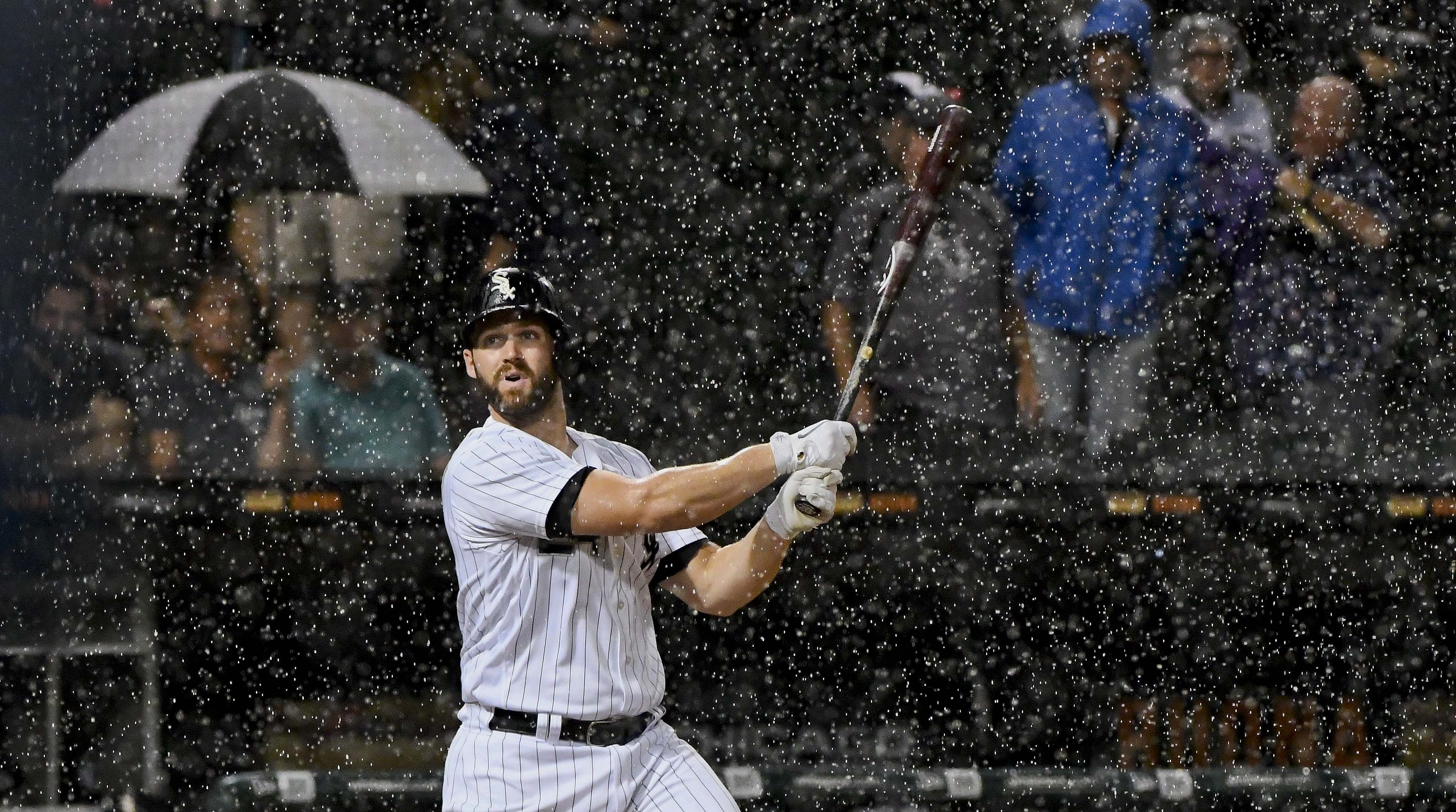 Sep 5, 2018; Chicago, IL, USA; Chicago White Sox first baseman Matt Davidson (24) bats before a rain delay in the second inning against the Detroit Tigers at Guaranteed Rate Field. Mandatory Credit: Matt Marton-USA TODAY Sports
